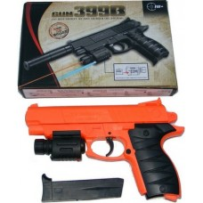 399B Spring Powered 21cm Orange + Black Plastic BB Gun Pistol with Fitted Torch