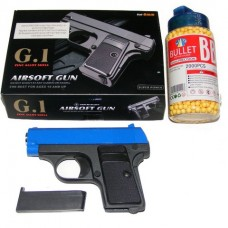 Galaxy G1 Blue Spring Powered Metal BB Gun Pistol 250 FPS & 2000 Pellets