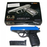 Galaxy G3 Spring Powered PPK Blue Metal BB Gun Pistol 250 FPS