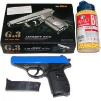 Galaxy G3 Blue Spring Powered PPK Metal BB Gun Pistol 250 FPS & 2000 Pellets