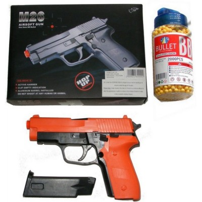 Double Eagle M26 Spring Powered Orange Plastic BB Gun Pistol & 2000 Pellets