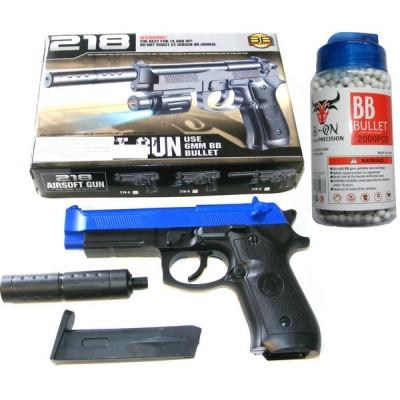 BB Sports 218 Spring Powered Blue Plastic BB Gun Pistol With Silencer & 2000 Pellets