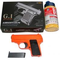 Galaxy G1 Orange Spring Powered Metal BB Gun Pistol 250 FPS & 2000 Pellets