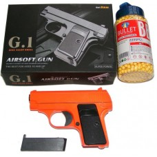 Galaxy G1 Orange Spring Powered Metal BB Gun Pistol 250 FPS & 2000 Pellets