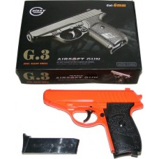 Galaxy G3 Spring Powered PPK Orange Metal BB Gun Pistol 250 FPS