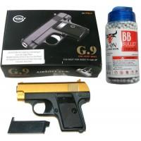 Galaxy G9 Spring Powered Gold & Black Metal BB Gun Pistol 220 FPS & 2000 Pellets