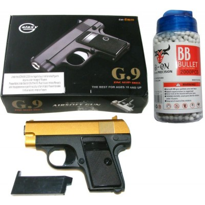 Galaxy G9 Spring Powered Gold & Black Metal BB Gun Pistol 220 FPS & 2000 Pellets
