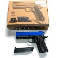 Galaxy G25 Spring Powered Blue Metal BB Gun Pistol 290 FPS