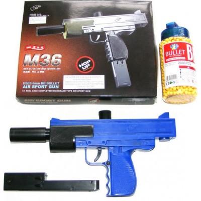 Double Eagle M36 Spring Powered Plastic BB Gun Pistol + 2000 Pellets