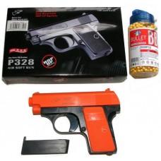 Double Eagle P328 Spring Powered Orange Plastic BB Gun Pistol & 2000 BB Pellets