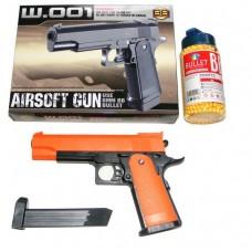 BB Sports W.001 Spring Powered Orange Plastic BB Gun Pistol & 2000 Pellets