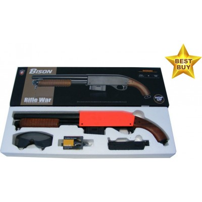 Bison 501A Spring Powered Plastic + Metal Pump Action BB Shotgun Rifle & Safety Glasses 320 FPS