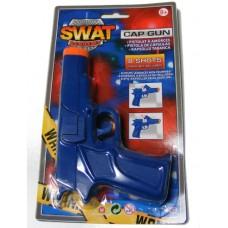 7 Inch Blue Plastic 8 Shot Cap Gun Pistol